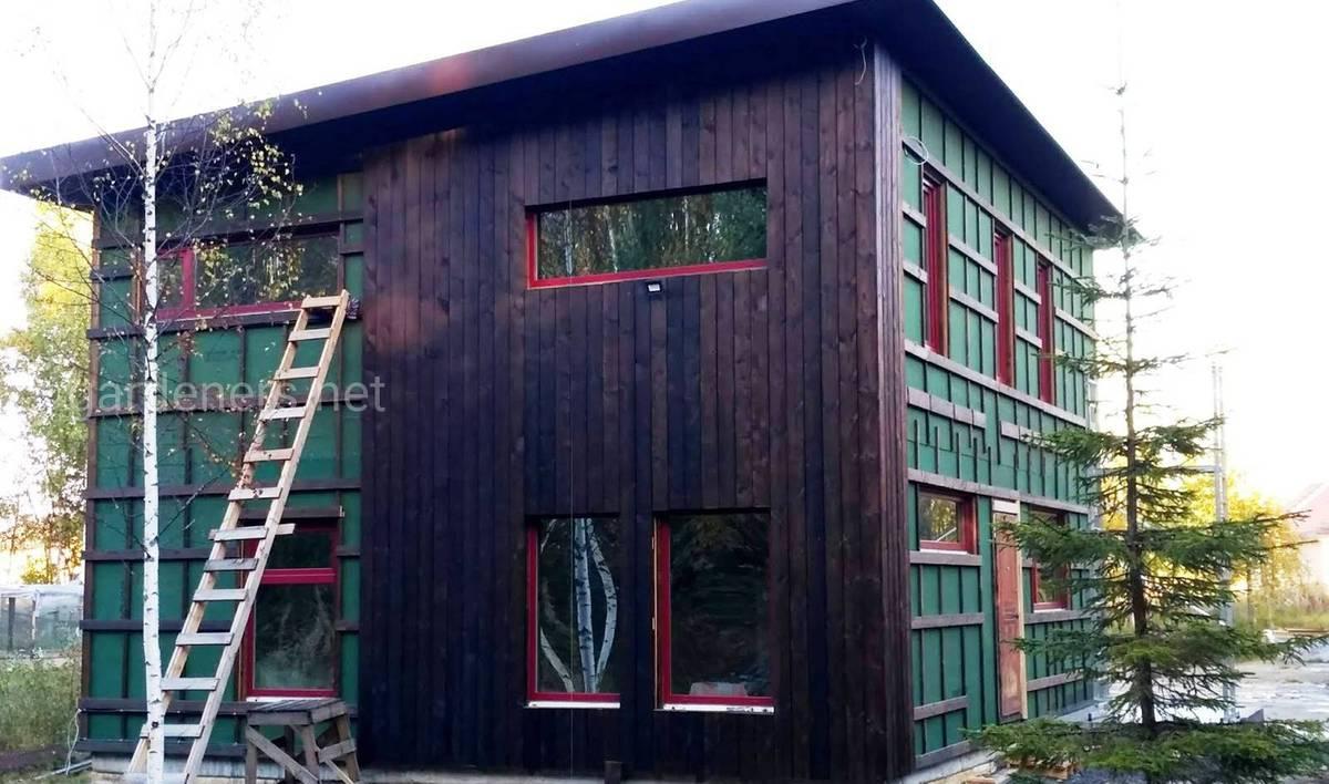 Фасад из обожжённой доски
