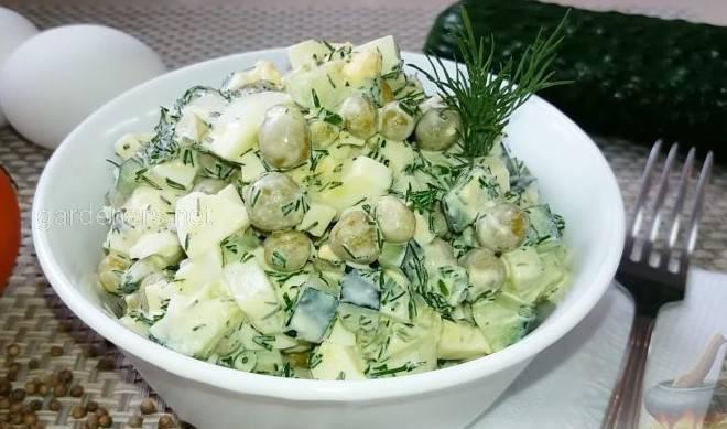 Зелений горошок + яйця та огірки
