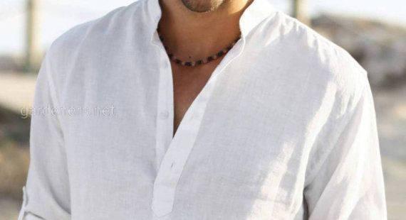 Мужская льняная рубашка.