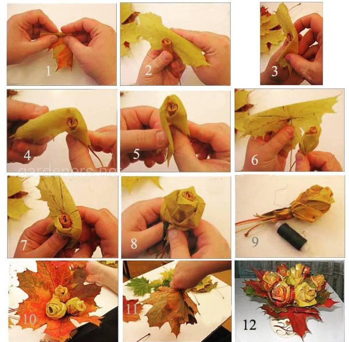 Идея  1 цветы из опавших листьев 2