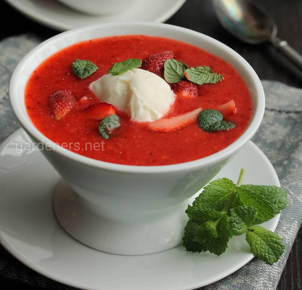 Суп из мяты и клубники
