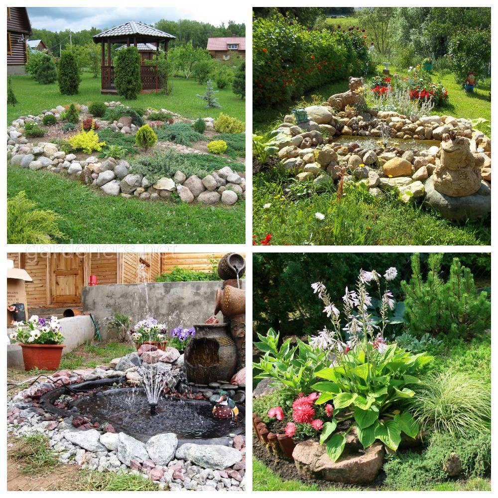 вариаций сочетания камня, растений и воды