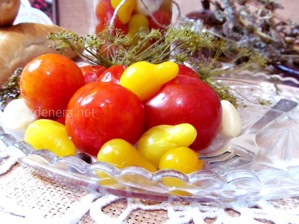Рецепт быстрых маринованных томатов