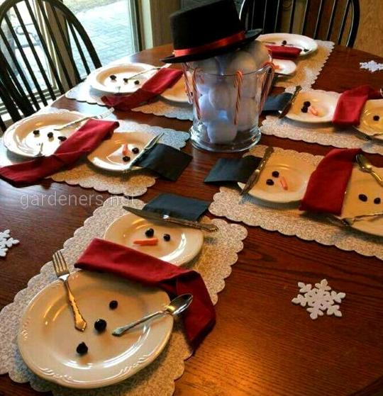 Необычная сервировка посуды за новогодним столом.