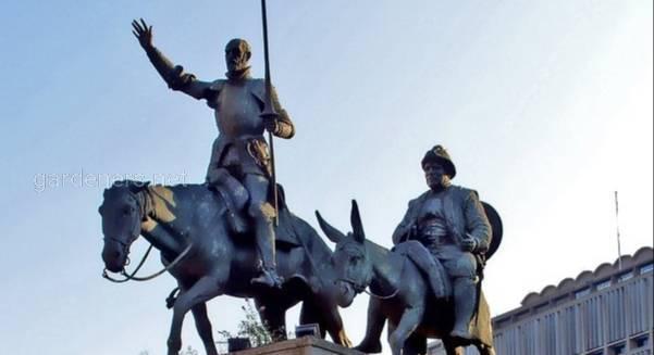 Памятник Дону Кихоту и Санчо Пансо в Брюсселе