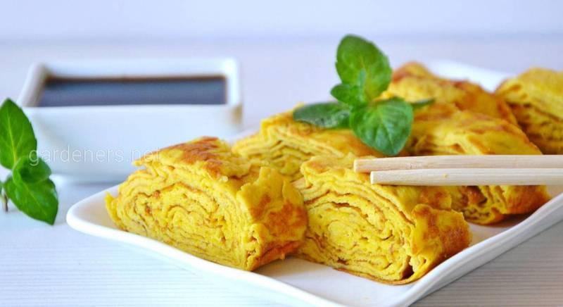 Японский омлет тамагояки с сыром. Рецепт
