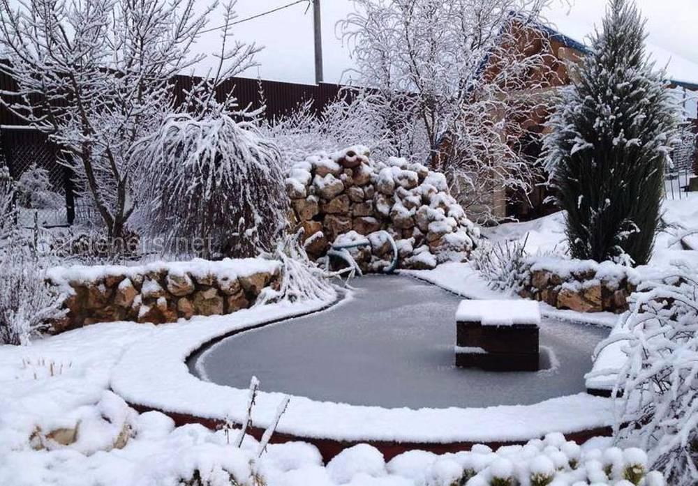 снег в саду