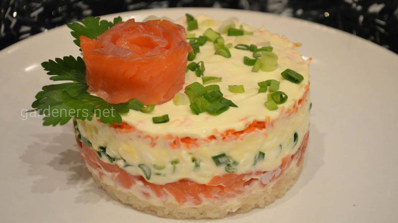 Салат с яблоком и красной рыбой. Рецепт