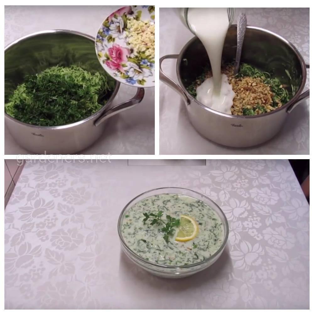 Летний суп «Таратор» из кефира, зелени и огурцов