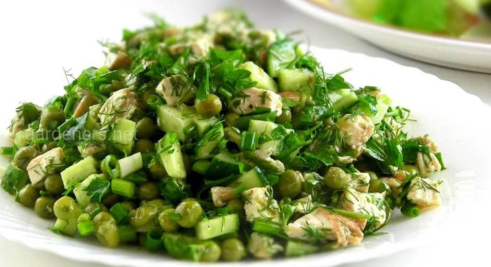 Зелений горошок у салаті «Єлисейські поля»