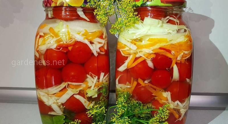 Рецепты консервации помидоров с капустой