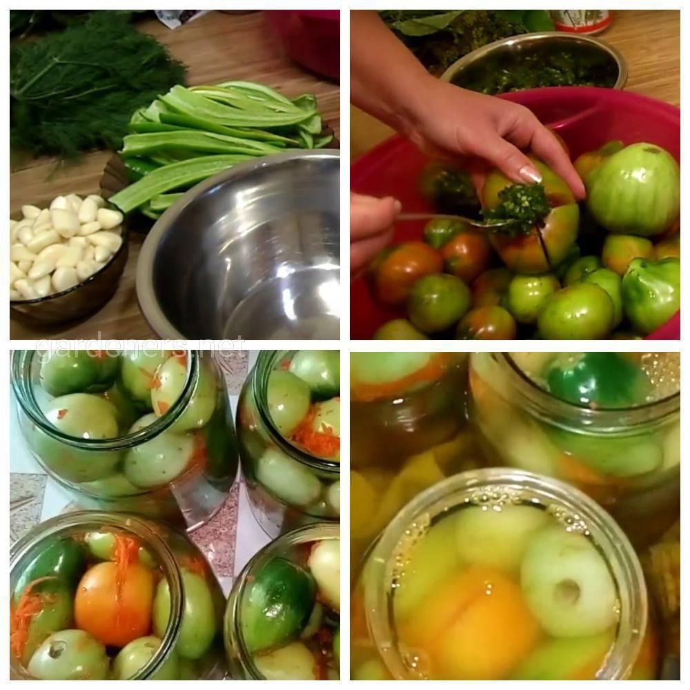 Зеленые помидоры с чесноком и начинкой