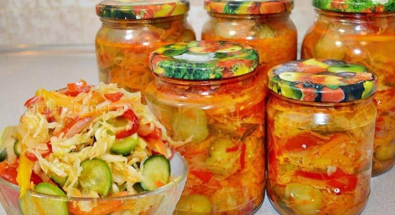 салатов с овощами для консервации
