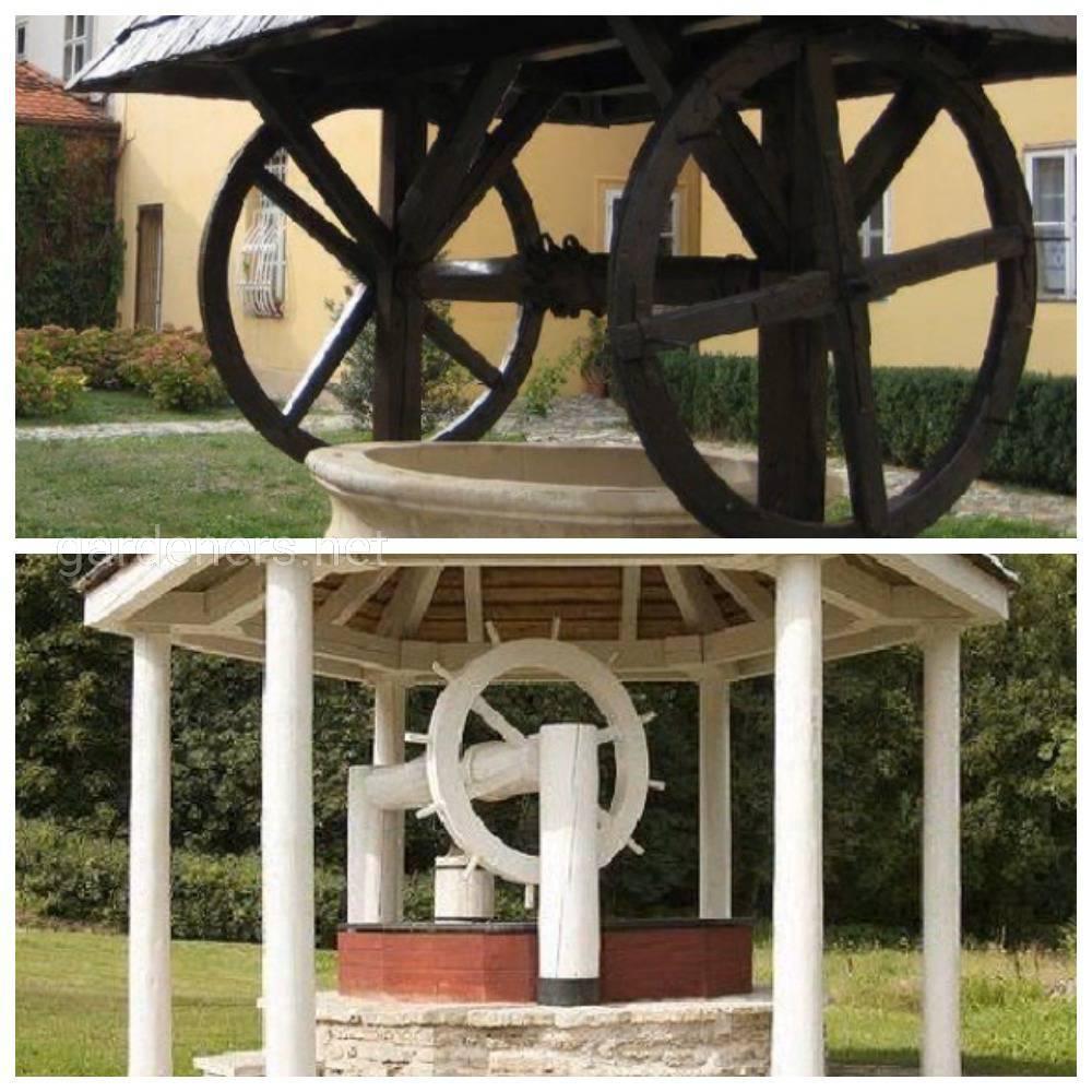 Декор вспомогательных атрибутов колодца – ведра, колеса и троса