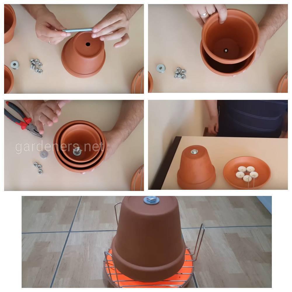 Обогреватель из глиняных горшков