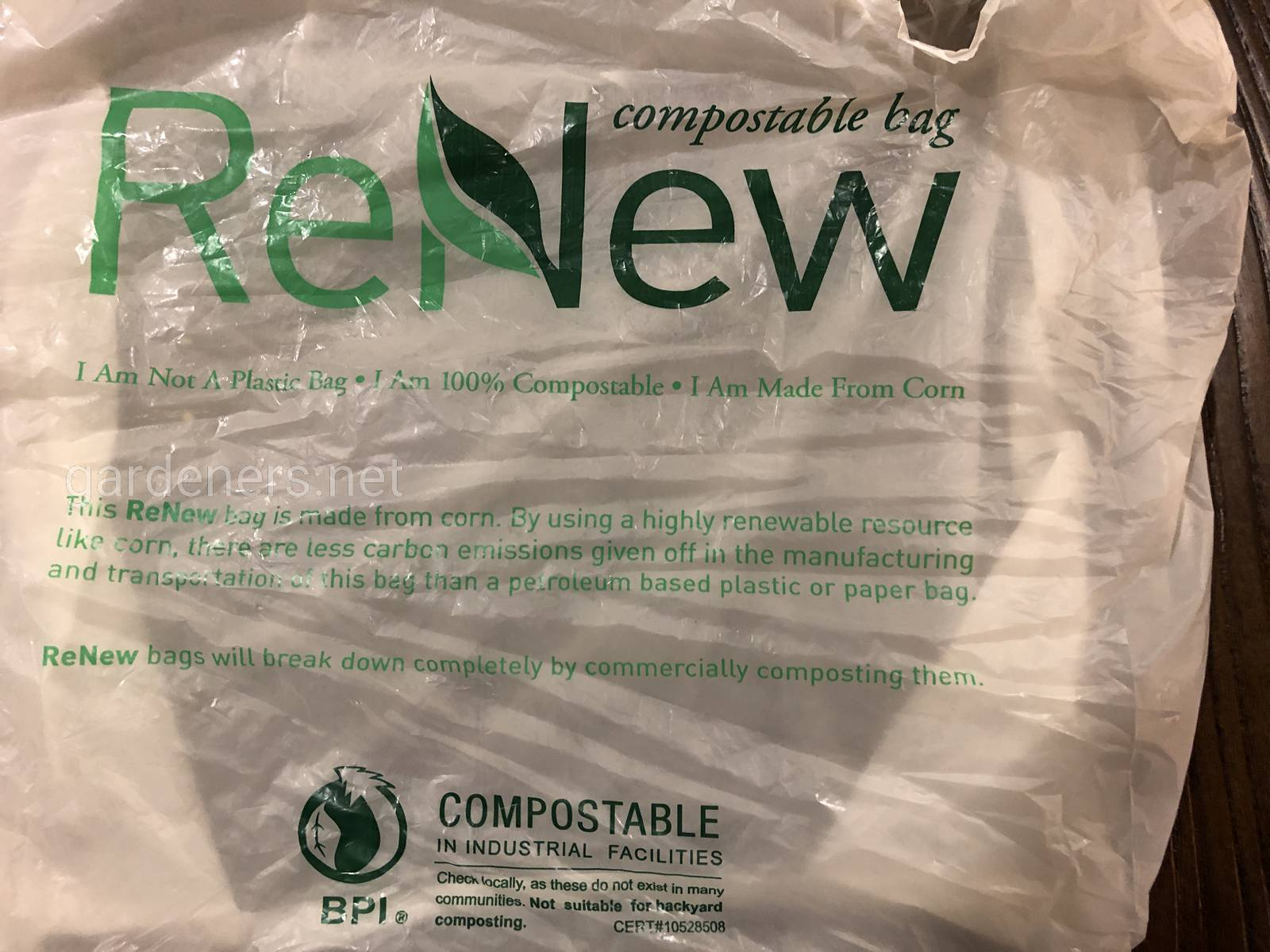 Compostable bag, NOT plastic
