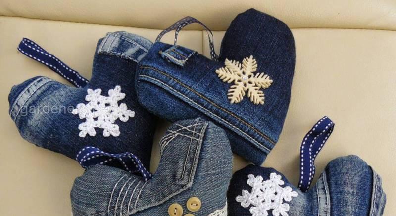 Як зробити новорічний декор з джинсової тканини