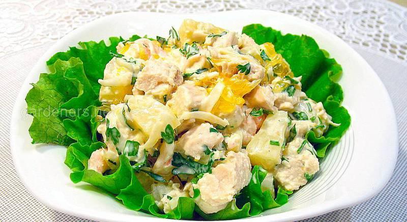 Диетический салат с курицей и ананасами. Рецепт