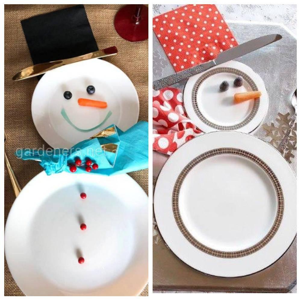Необычная сервировка посуды за новогодним столом. 1